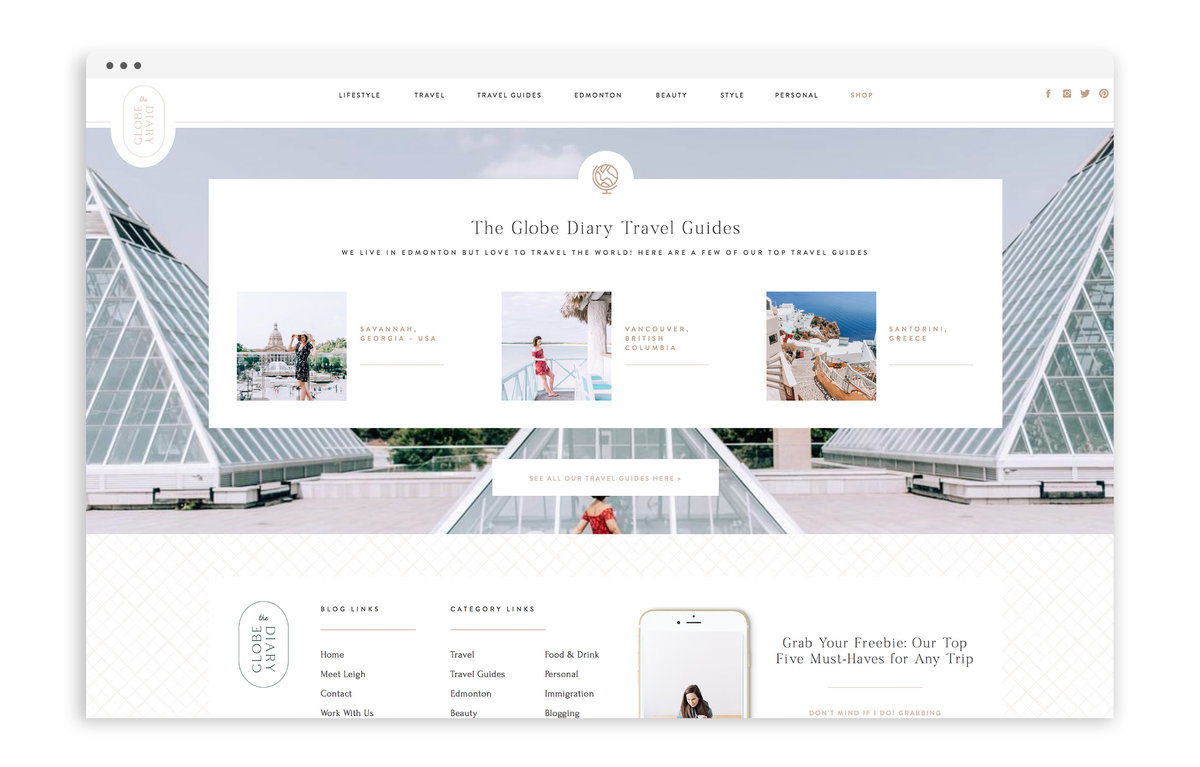 The Globe Diary by Leigh Dorkin - Custom Brand and Showit Web Design by With Grace and Gold - Showit Theme, Showit Themes, Showit Template, Showit Templates, Showit Design, Showit Designer - 2