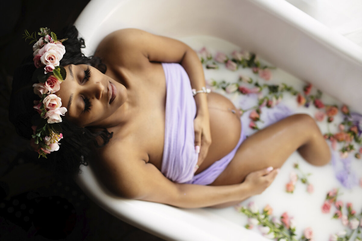 cleveland milk bath maternity photography