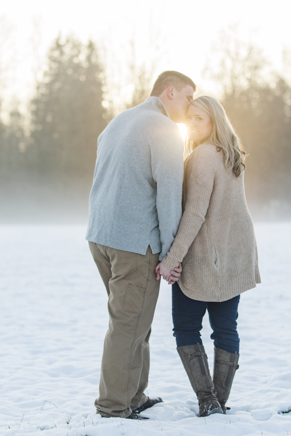 seattle wedding photographer snowy anacortes engagement photo + sun flair