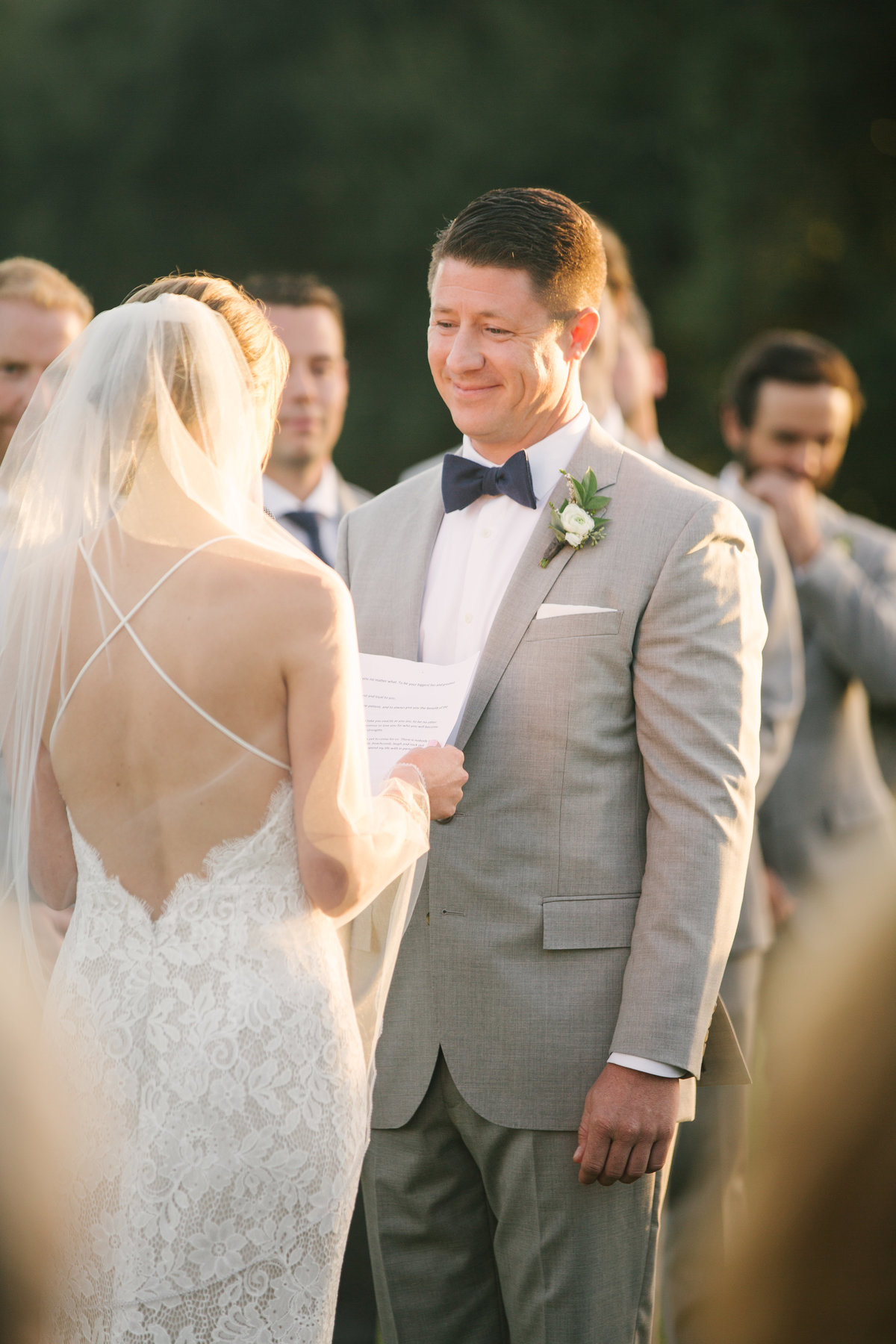 Bride recites vows at Firestone Vineyard wedding