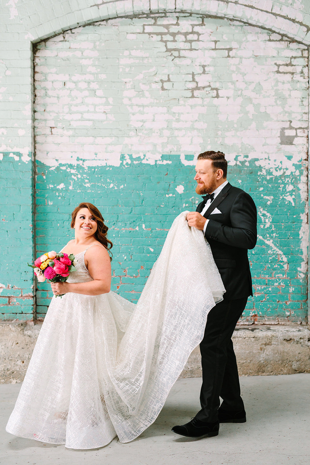 bride and groom wedding portrait in downtown Los Angeles