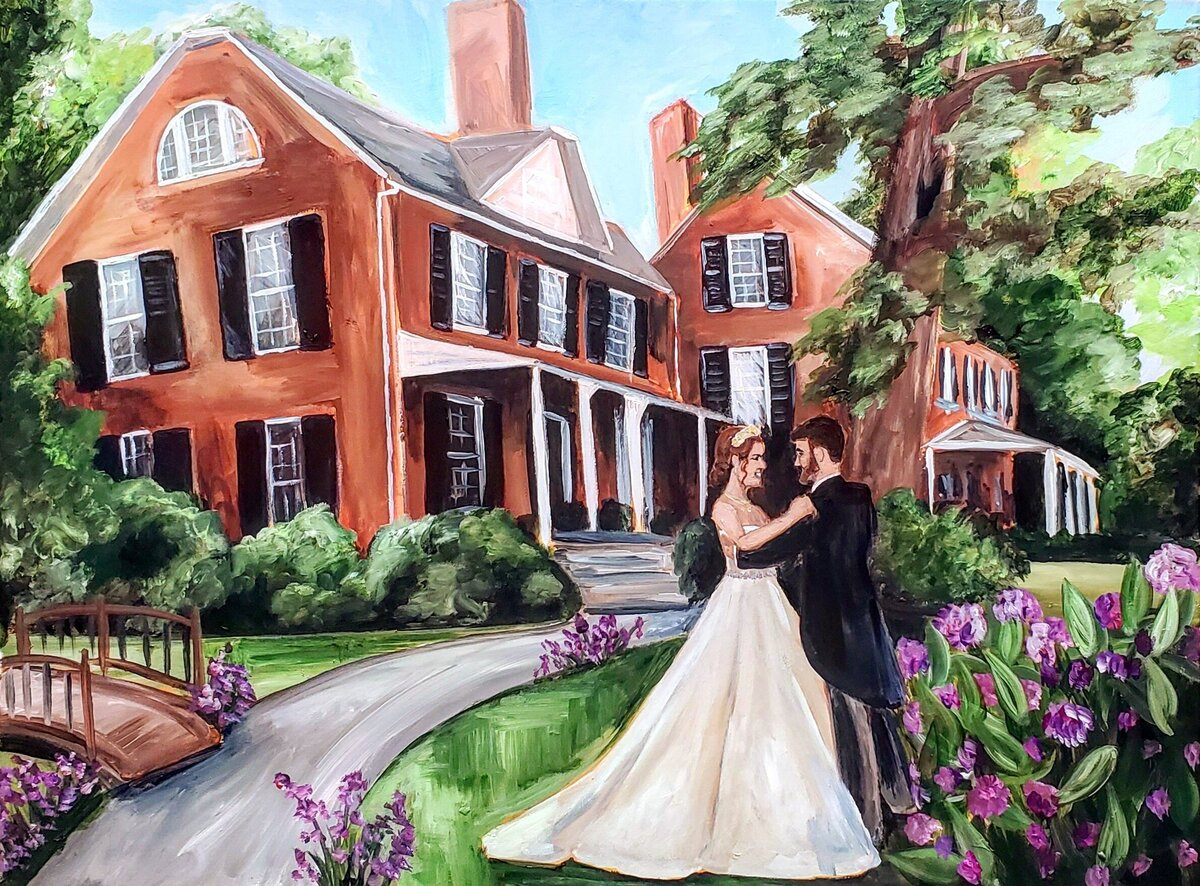 Live painting of a bride and groom sharing their first dance outside the Elkridge Furnace Inn in Elkridge Maryland