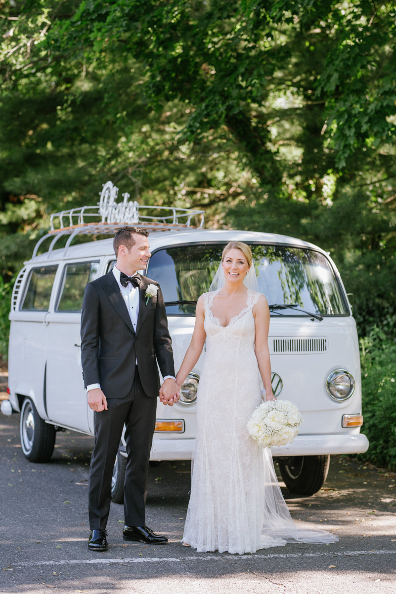 Vintage VW bus in a weding photo