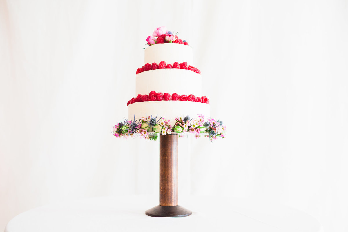 rasberry wedding cake with white background
