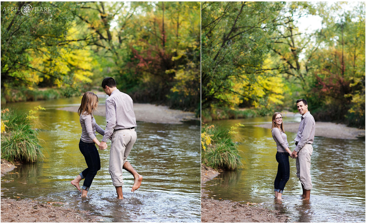 Fun and Playful Fall Color Engagement Session at Cherry Creek near Four Mile House in Denver