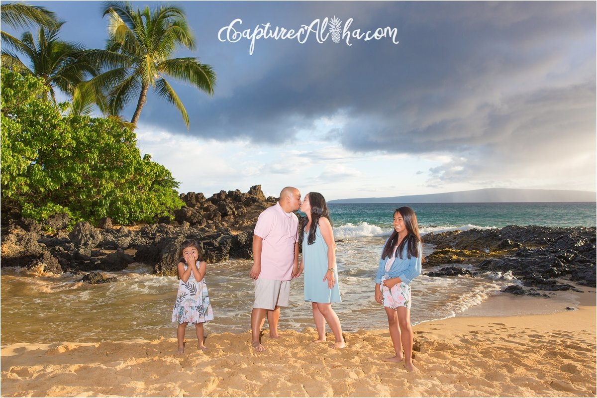 Capture Aloha Photography, Maui Family Portraits with beautiful sunset on the beach