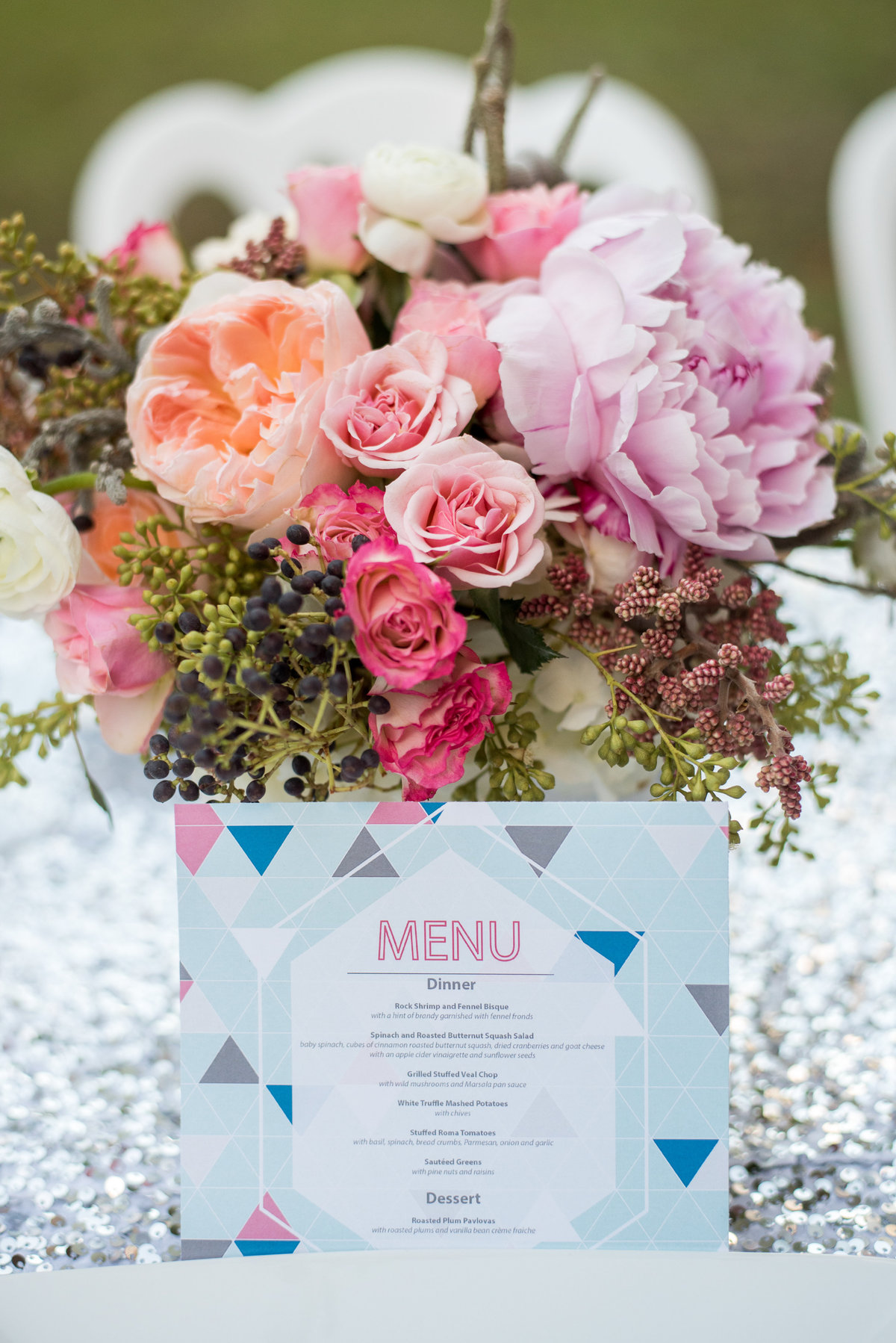 wedding flowers and menu