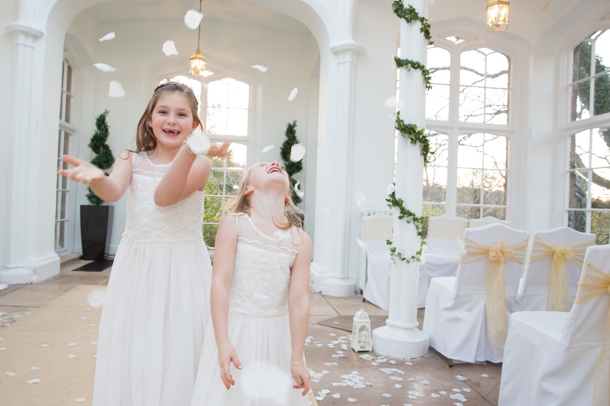 flower girls at st audries winter wedding