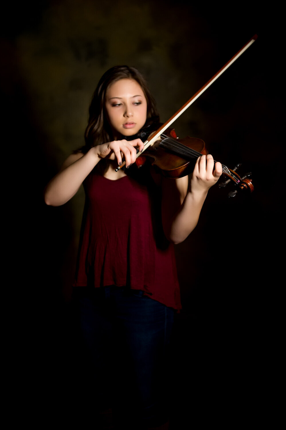 indoor studio girl playing violin classic photo