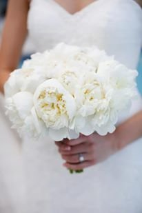 All white peonies bouquet
