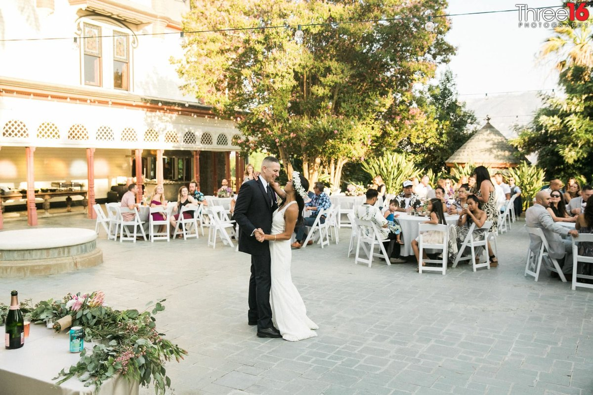Newhall Mansion Piru California Los Angeles  Photographer Wedding Venue dance floor Bride and Groom