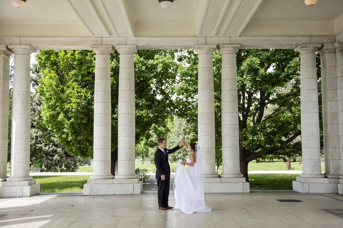 bride and groom dancing cheesman park