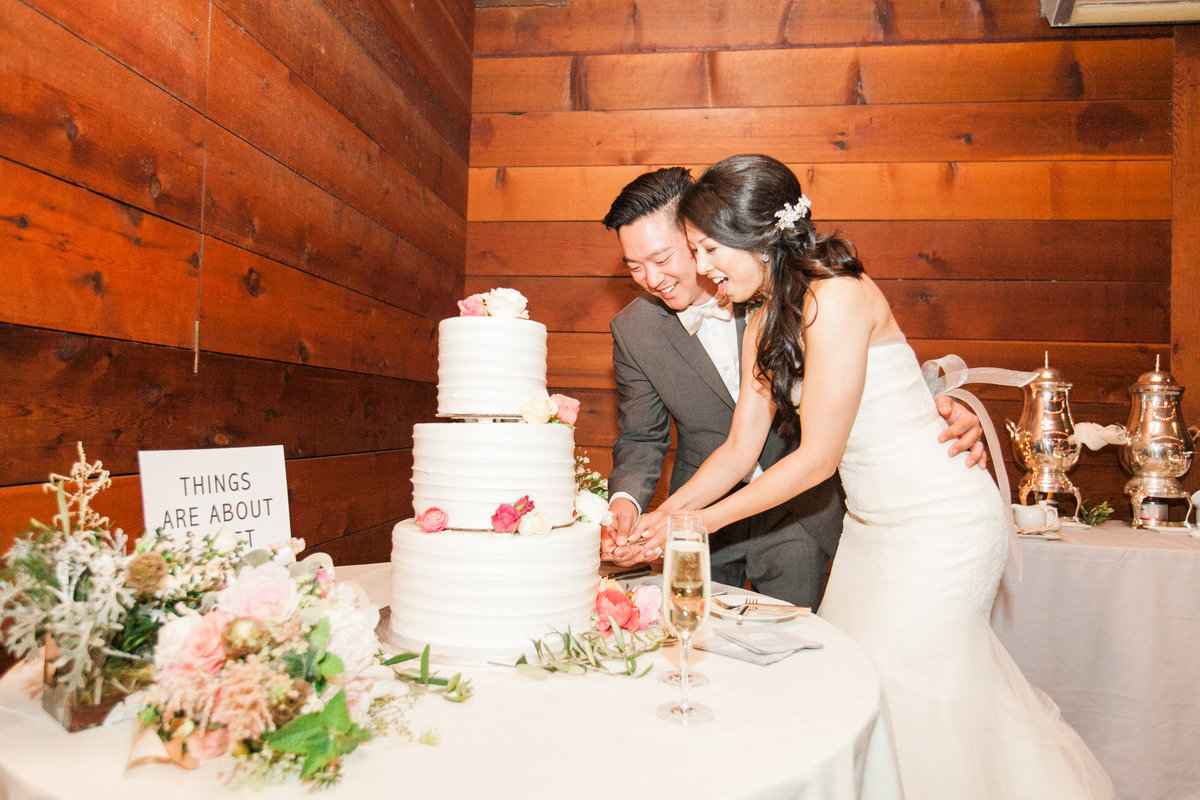 Rustic Barn Wedding Cake Cutting
