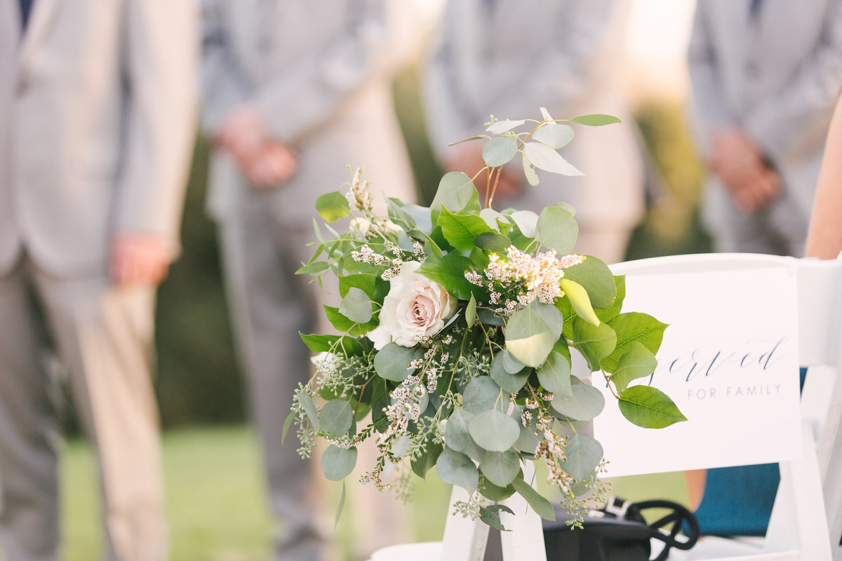 Ceremony florals at Firestone Vineyard wedding