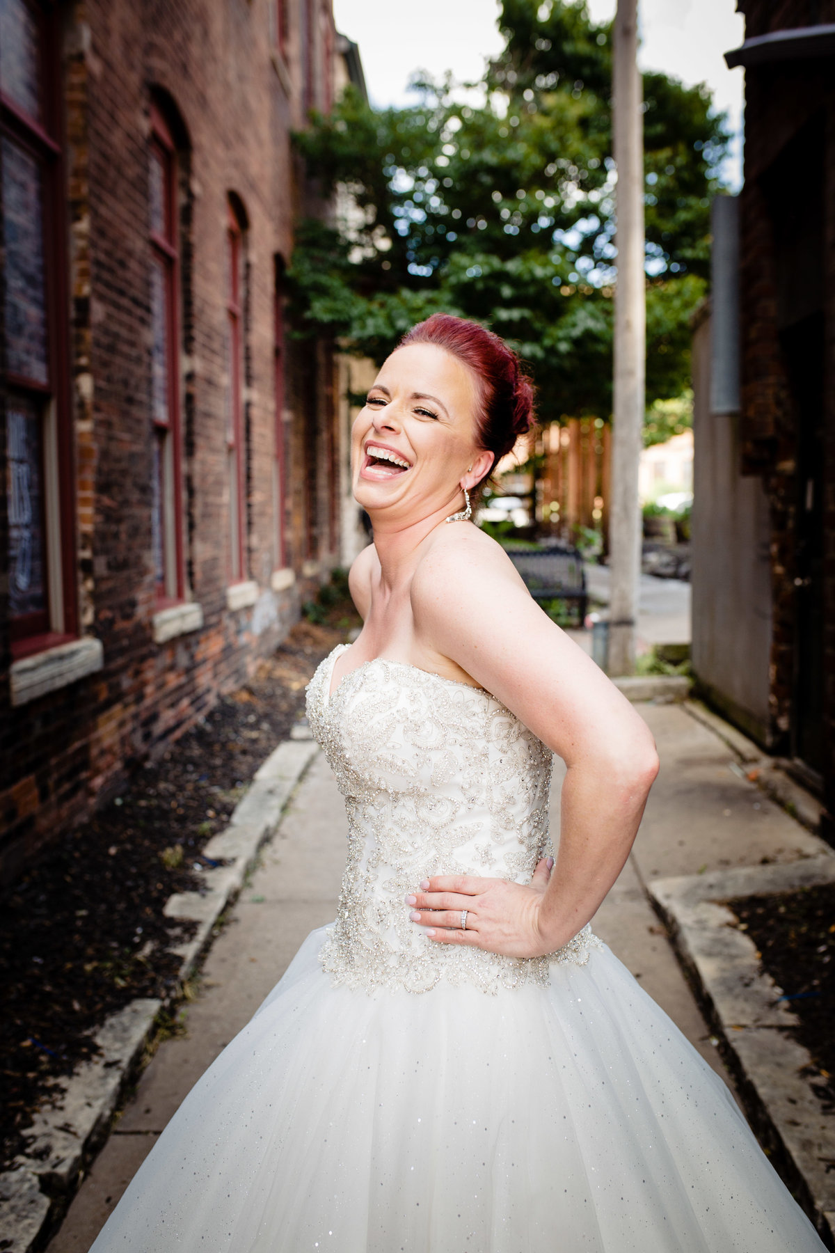 Davenport bride laughing
