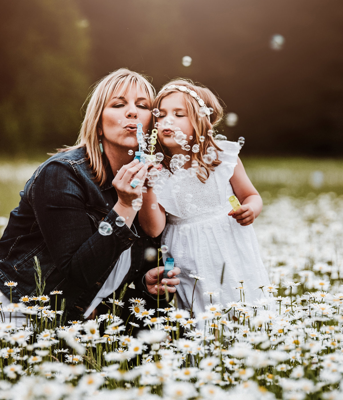 Mother and daughter blowing bubbles in Ellensburg Washington