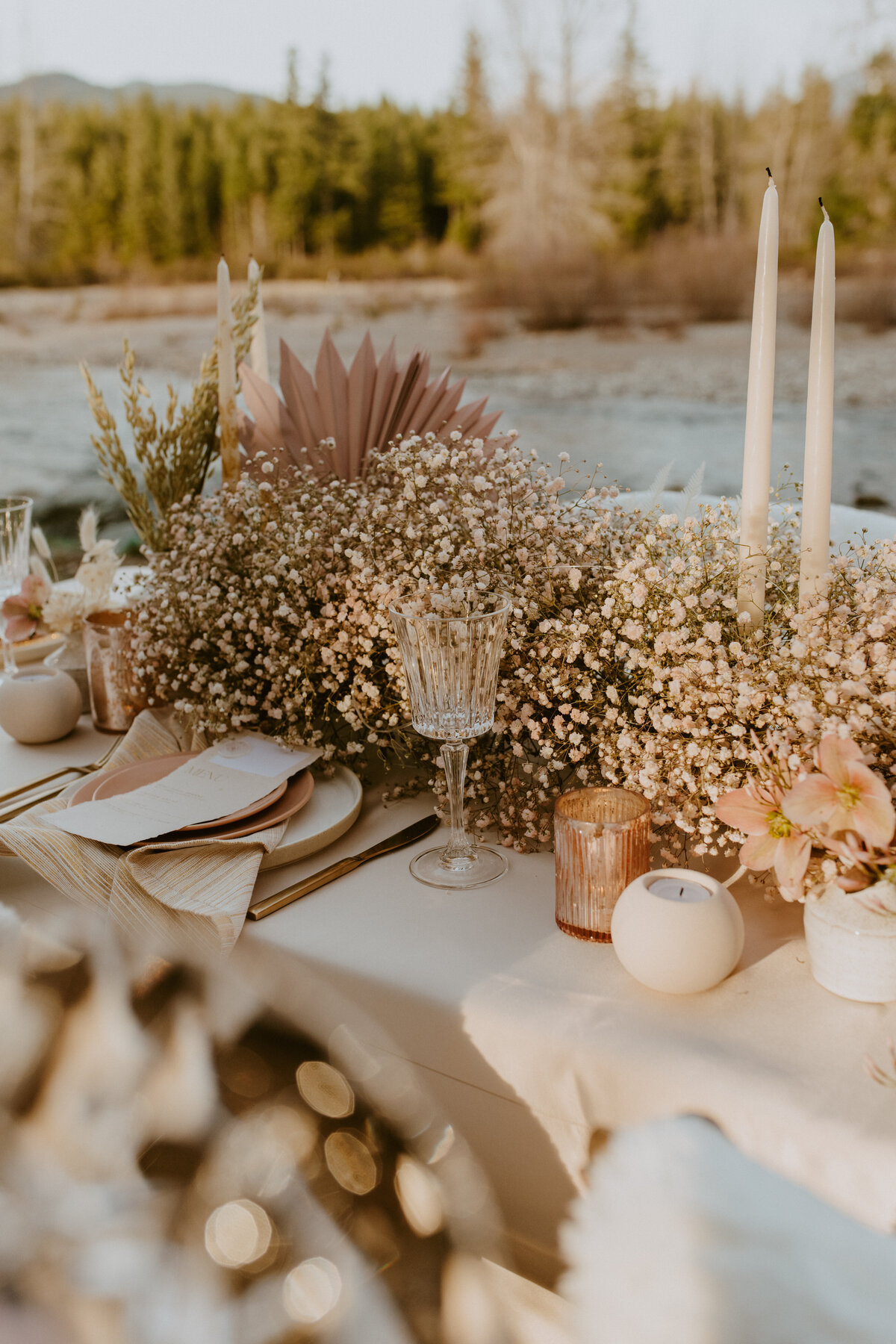 warm wedding table setting