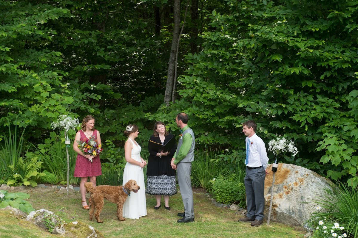 outdoor wedding ceremony with dog and finding a dog friendly photographer in Vermont