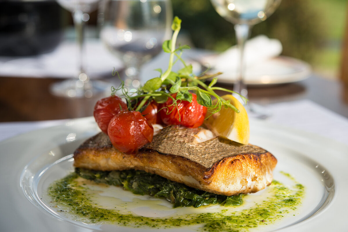 Seared fish served on spinach and pesto mash from Tankard Restaurant