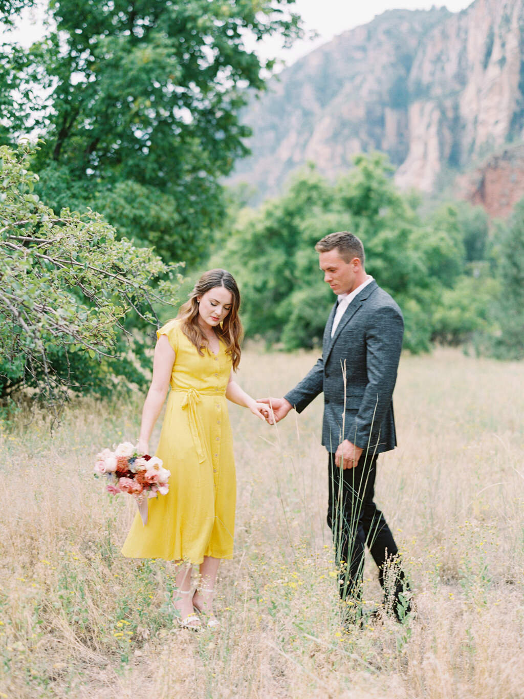Aubrey & Joey Sedona West Fork Trail Fall Fine Art Engagement Session Ball Photo Co-4