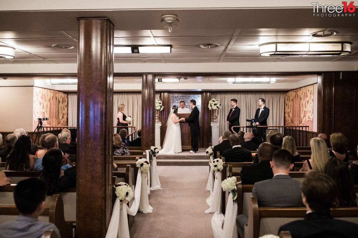 Wedding ceremony upon the Queen Mary