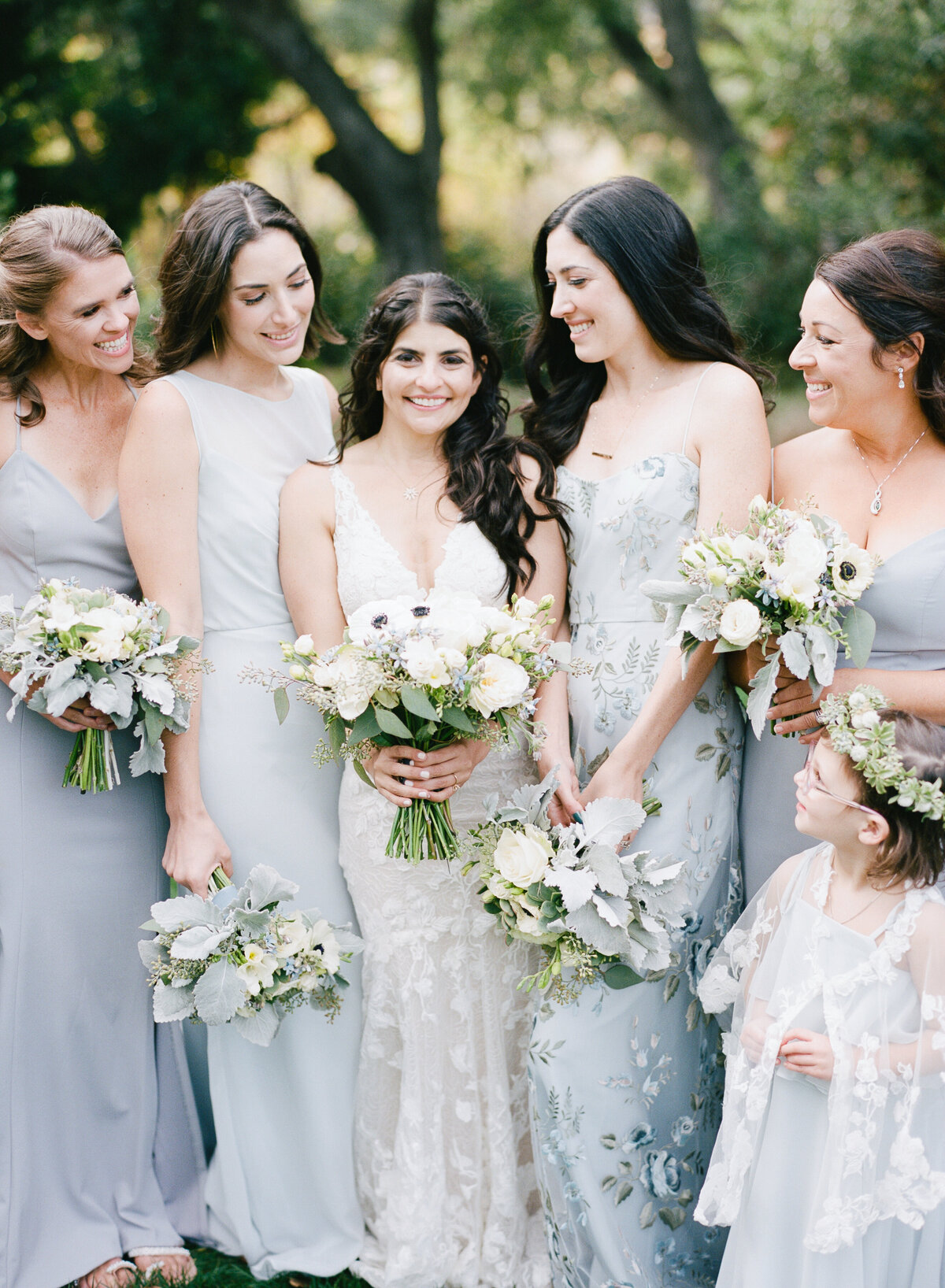 Bridesmaid shot, pale blue/grey bridesmaid dresses
