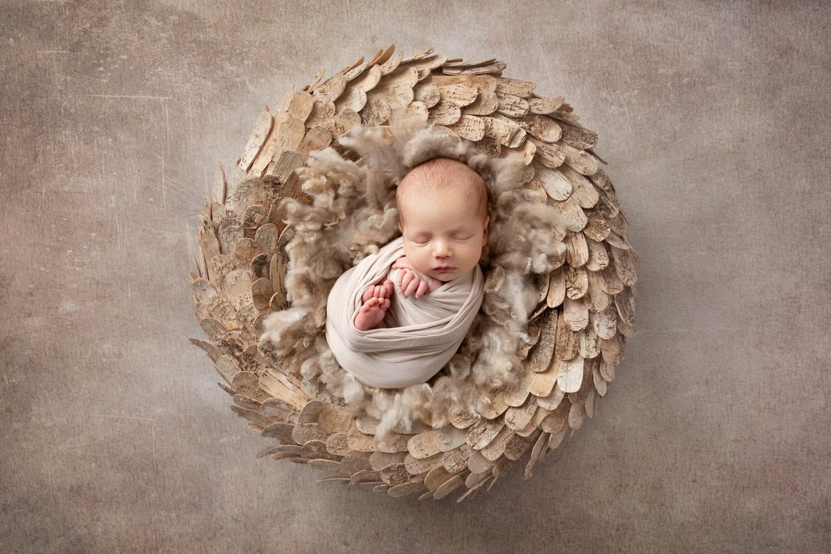 Baby boy in a wooden wreath