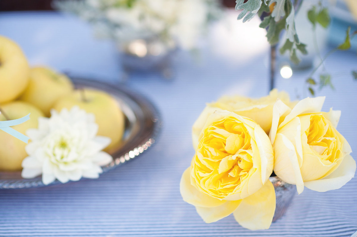 yellow garden rose, golden apple centerpiece