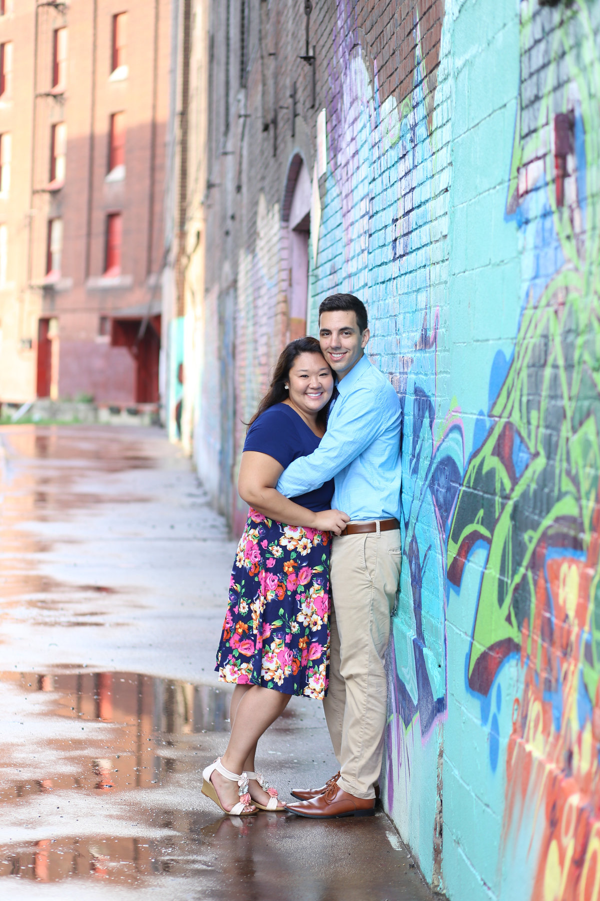 West Bottoms Kansas City Graffiti Engagement - Kansas City Overland Park Engagement Photographer - E Session - Engagement - Engaged - Engagement Ring