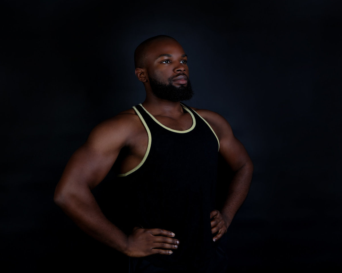 Bay Area Health Fitness and Beauty In-Studio with Black Dramatic Backdrop