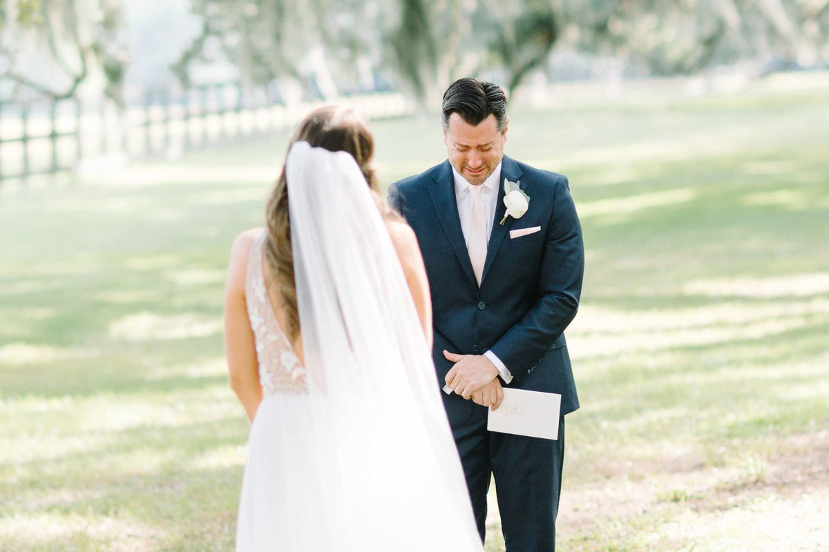 Bride and Groom Emotional First Look at  Boone Hall Plantation