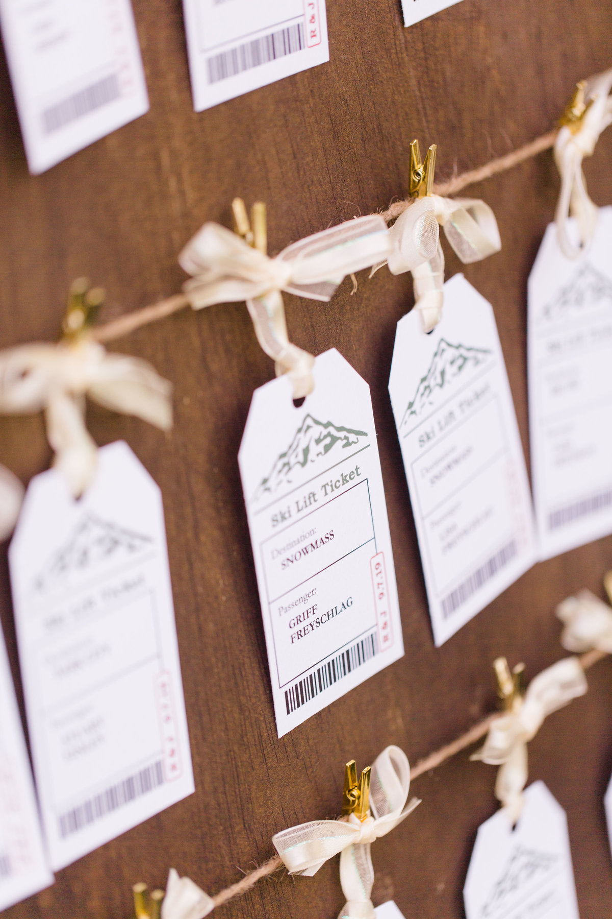 Wedding detail, wedding reception place tags