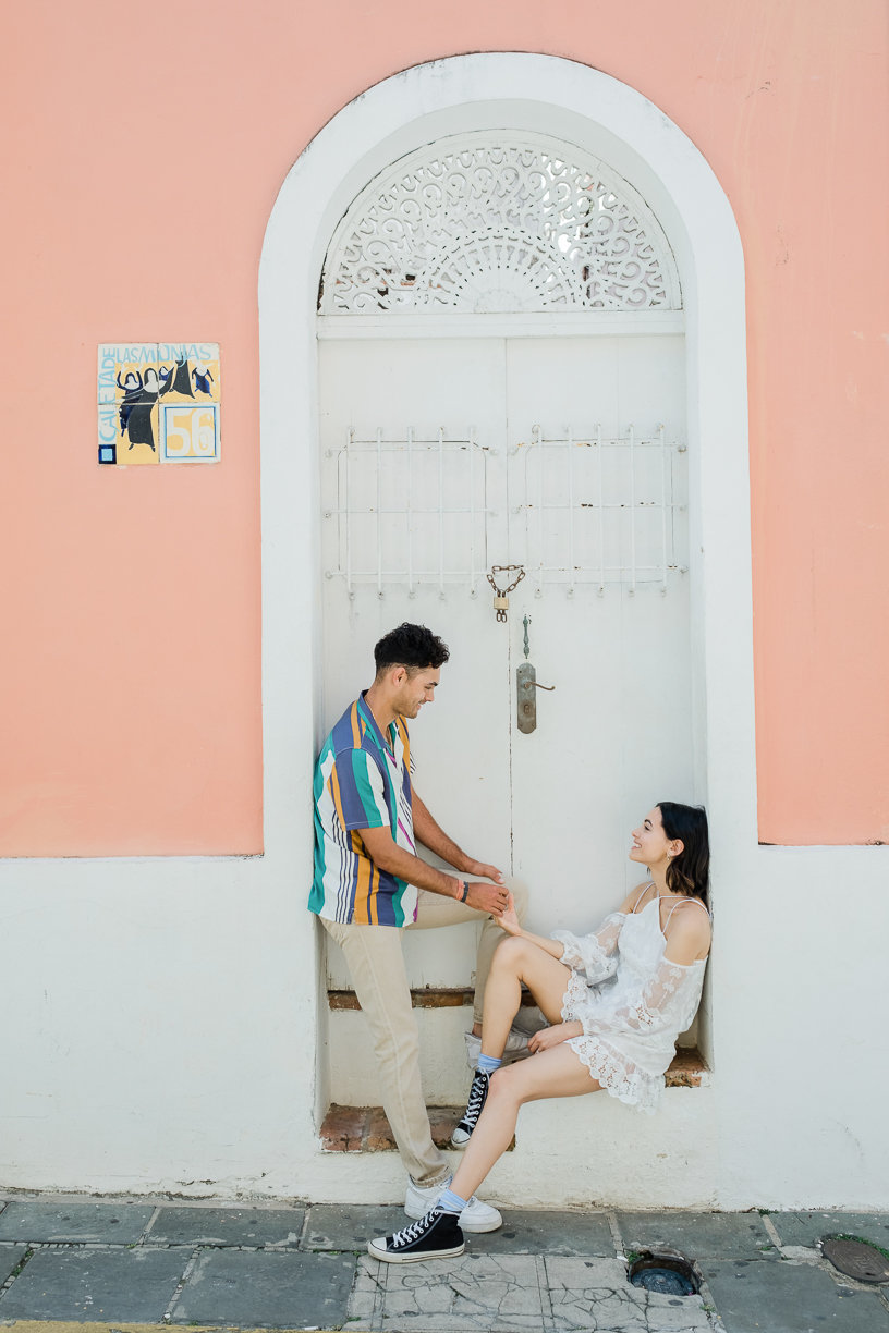 couple on door frame