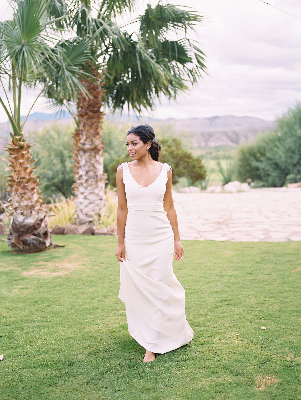 Bridal portrait at Lajitas Golf Resort with Anna Campbell Gown