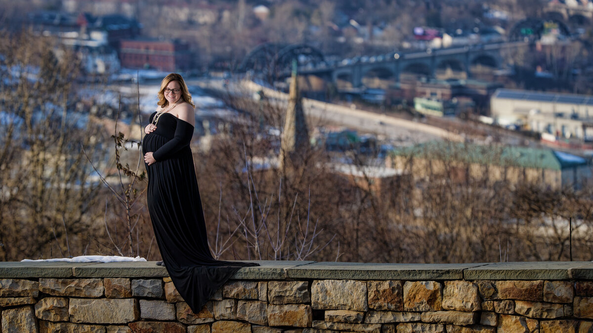 Mom-to-be at her winter maternity photo session in Lehigh Valley