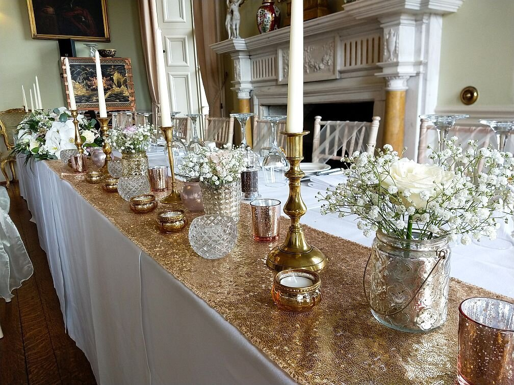Gold candelabra sequin pearl wedding 6