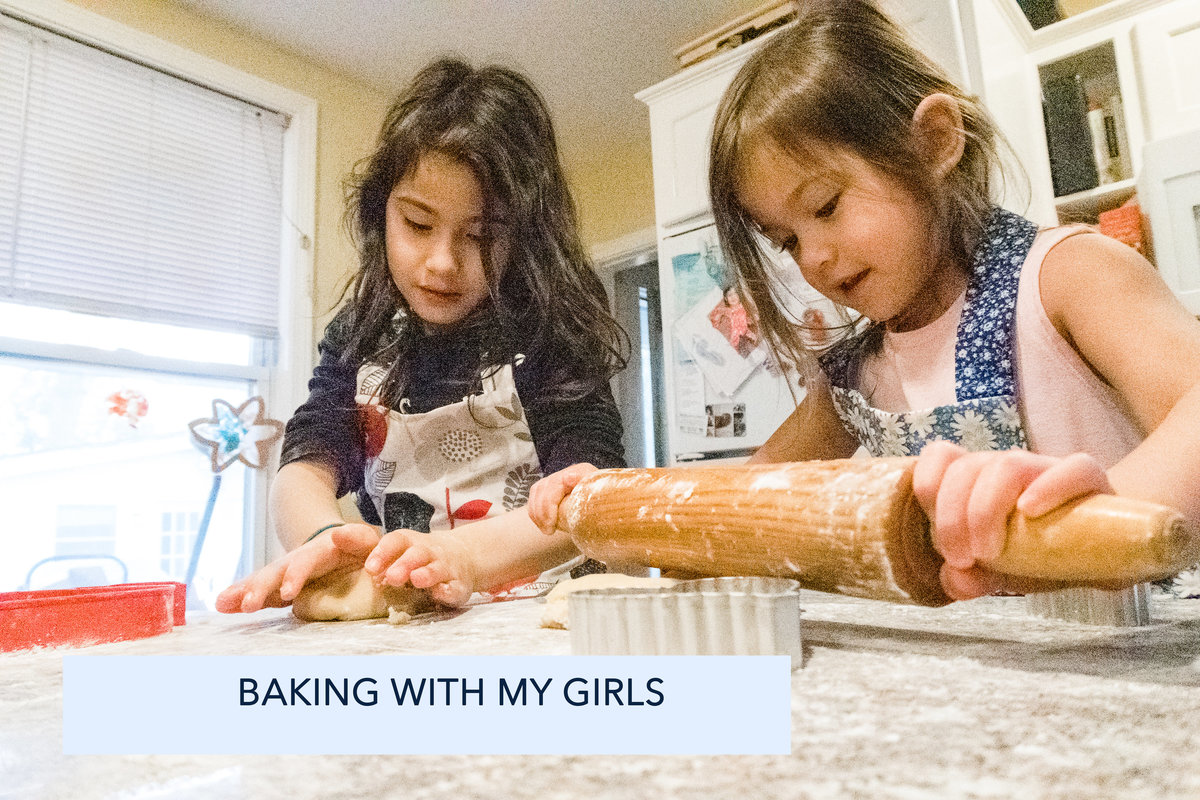 Sisters baking cookies in Natick MA