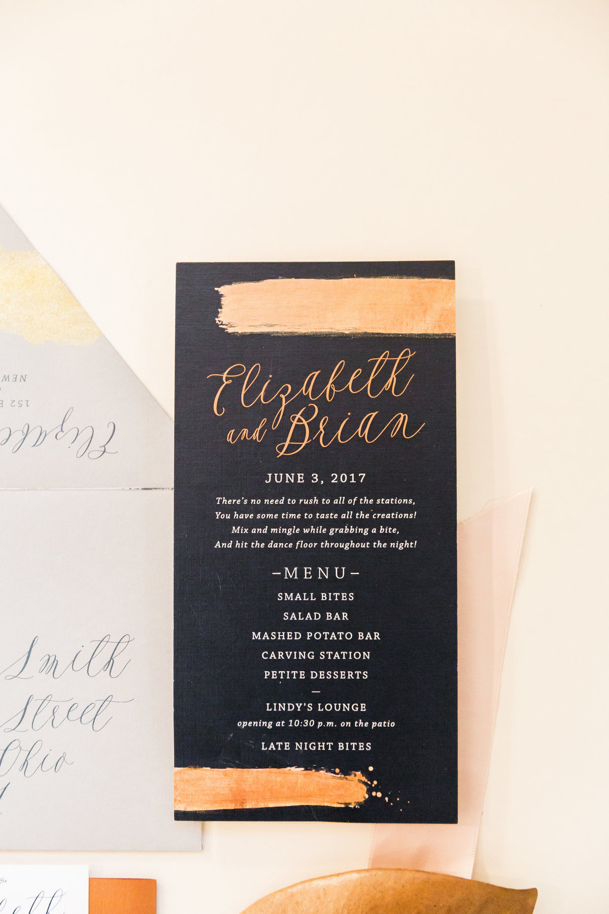 bronze wedding menu
