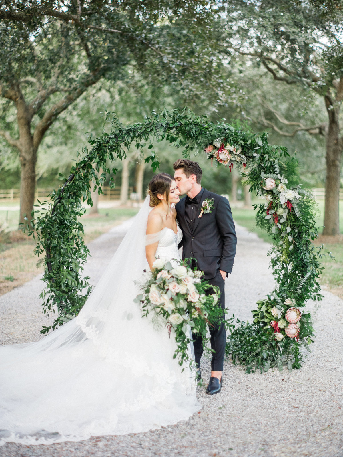 Wedding with lots of greenery at Old Wide Awake Plantation in Charleston