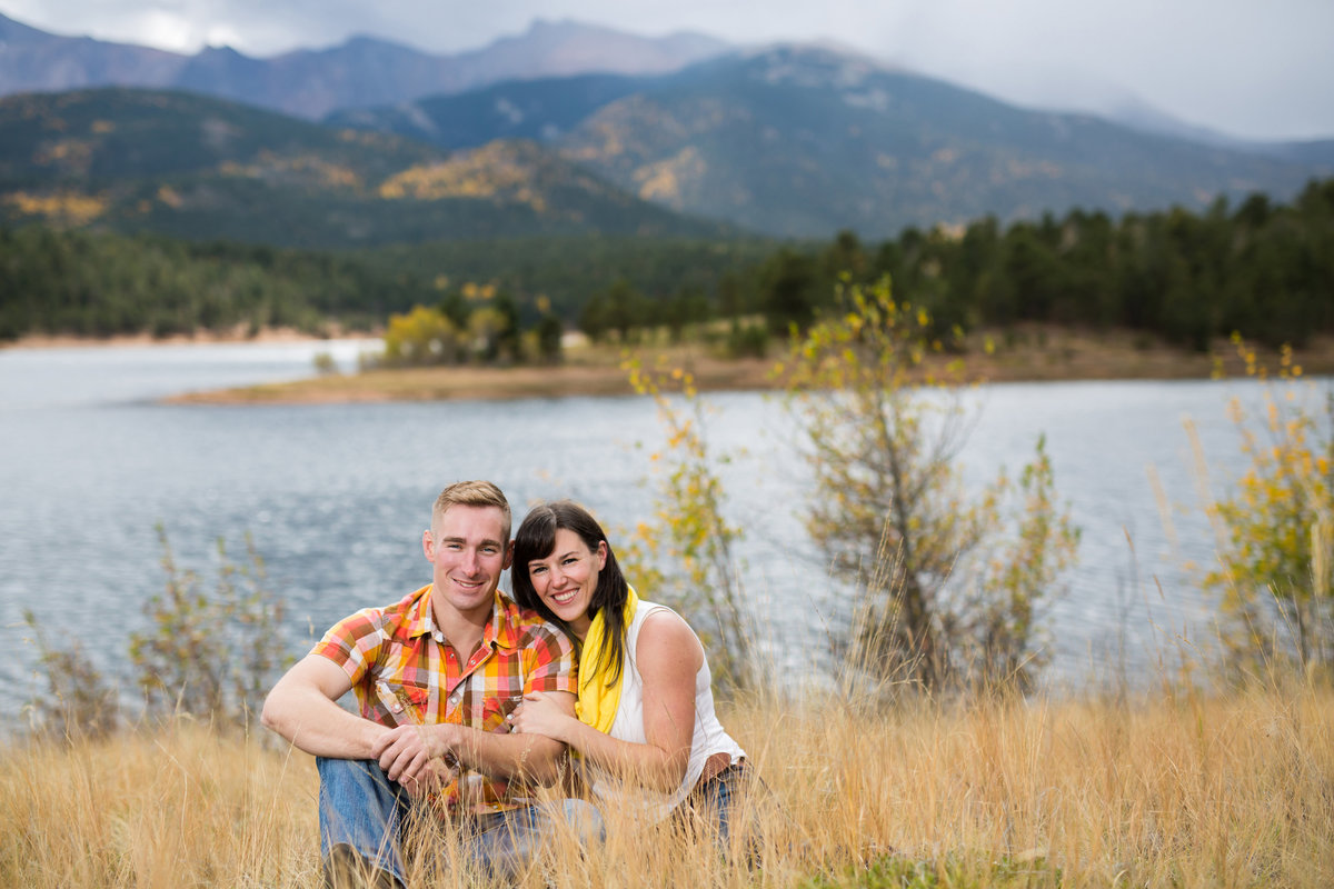 fall engagement photos of couple at Crystal Lake