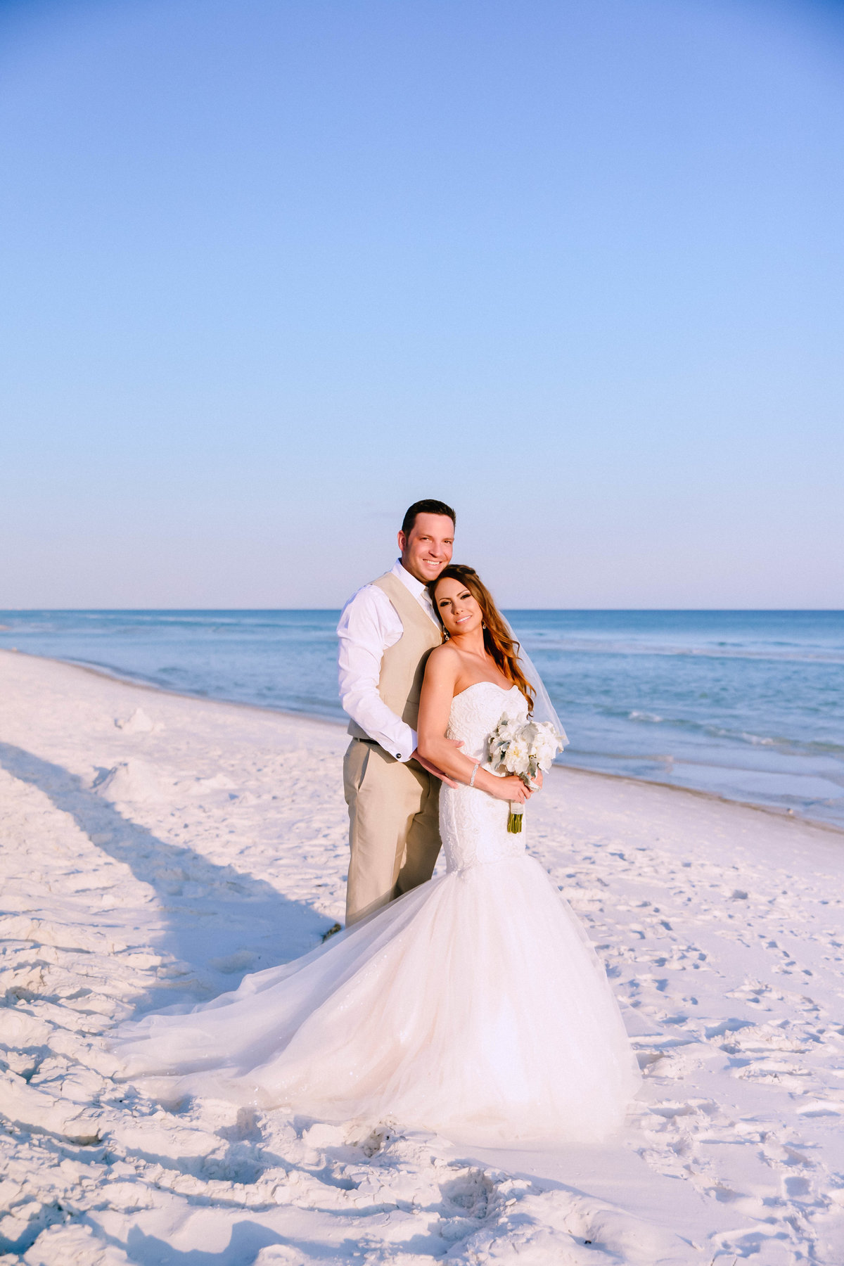 Sunset picture of bride and groom in Destin, FL