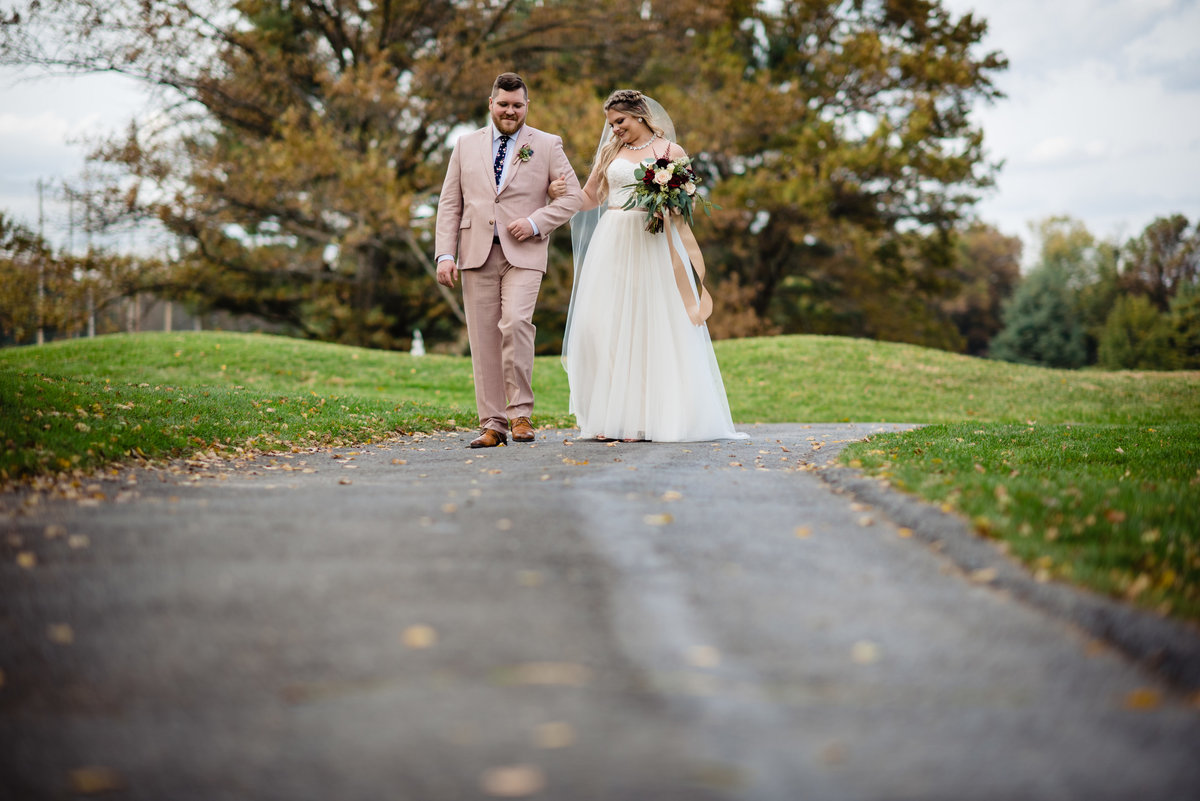 Bride & Groom Walking at Northampton Valley Country Club | Richboro Pennsylvania