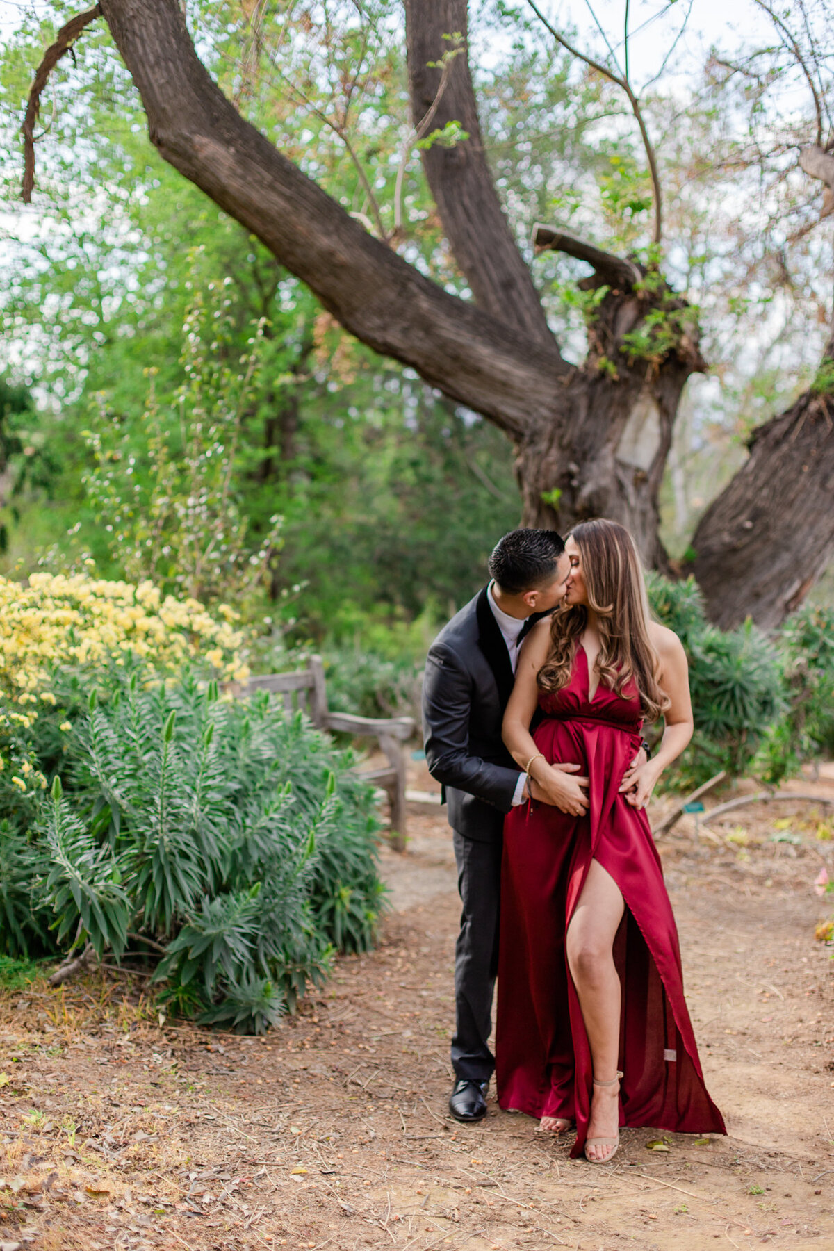 UC Riverside Botanical Gardens, Engagement Photography, Riverside Phototgrapher, Garden Engagement, Couple Photography, Red Dress-43