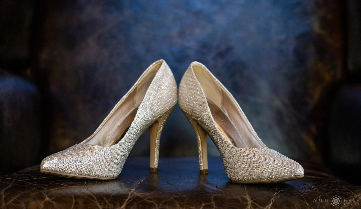 Pretty gold sparkly high heels at a Colorado mountain Wedding in Breckenridge