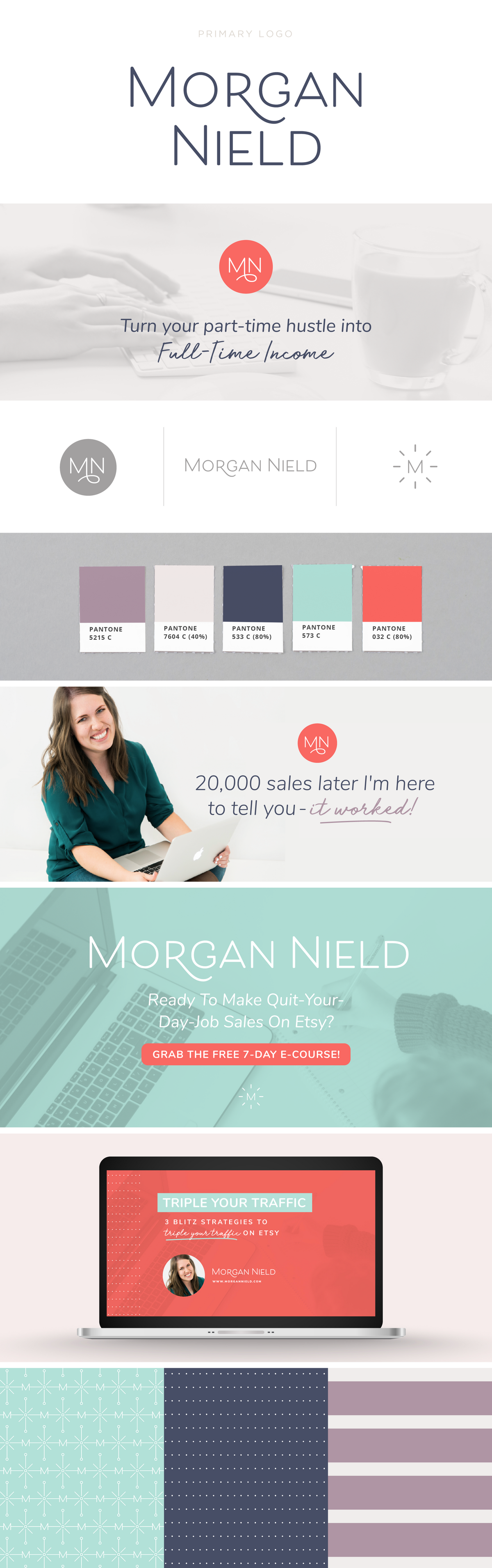 Morgan Nield brand design by Spruce Rd. in collaboration with Pace Creative Design Studio