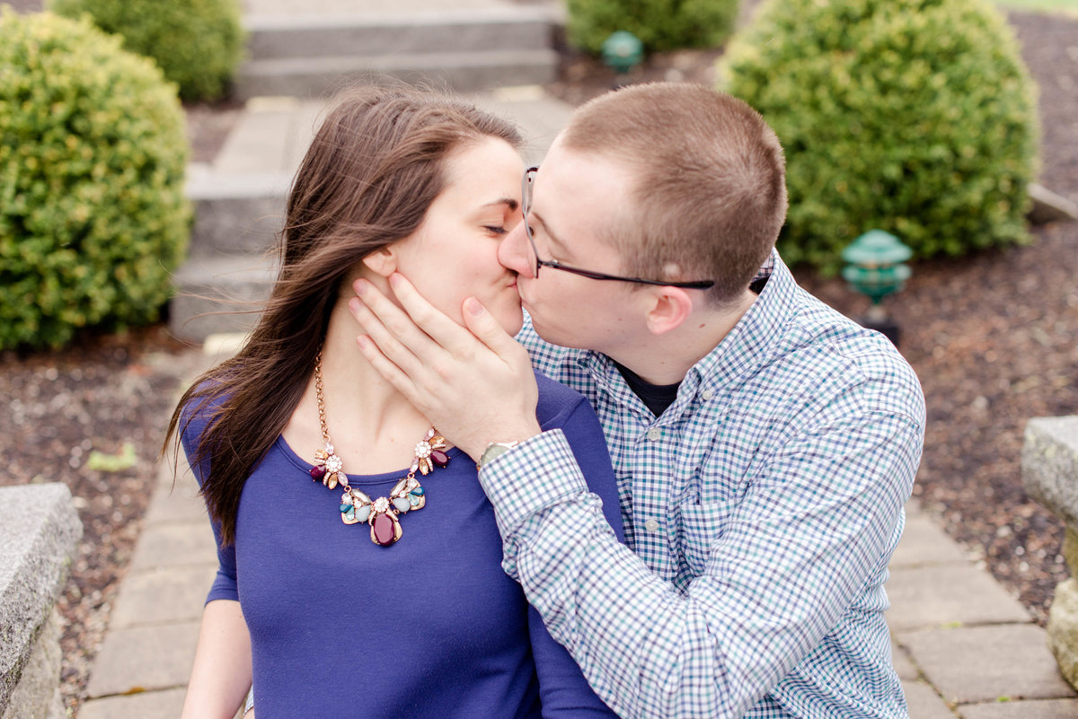 Pineland Farms spring engagement session in the fog.
