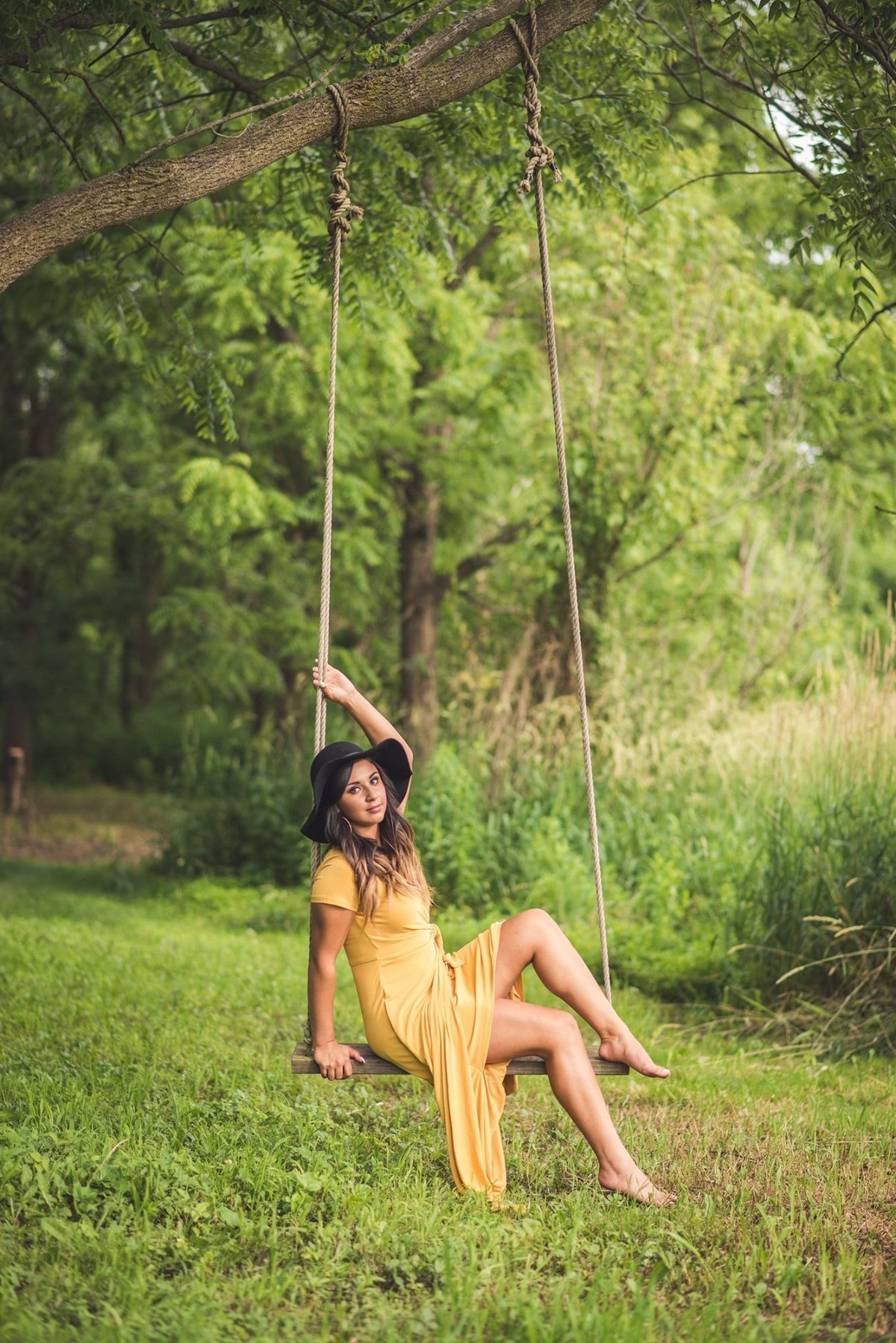 Senior Session Girl in Woods on Rope Swing
