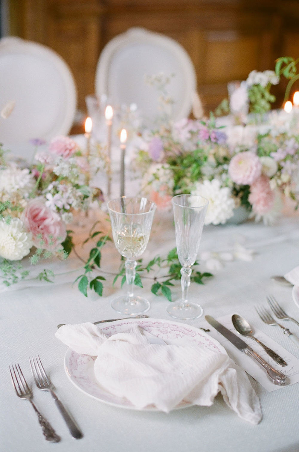 English country house wedding with a ballroom reception and vintage china place settings