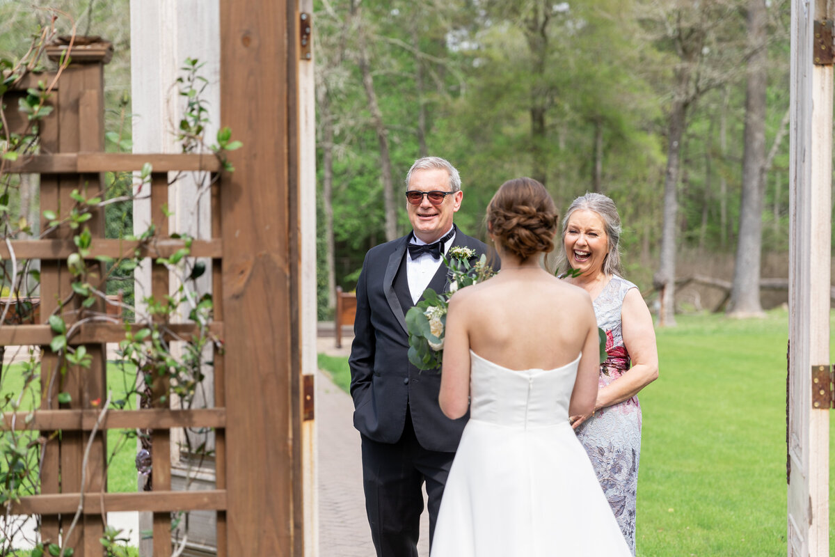 Bride's First Look with Mom and Dad at The Carriage House