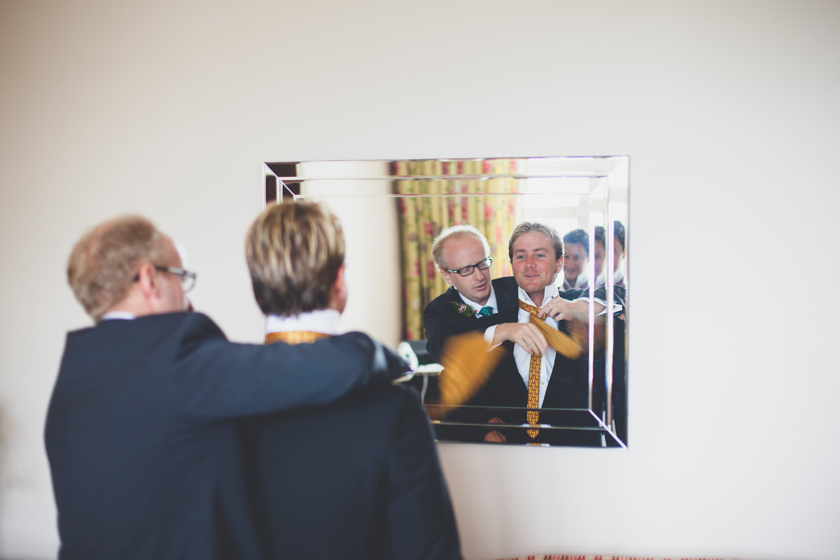 Groom prepartation Cornwall wedding photography
